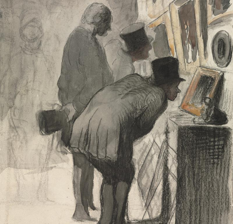 Drawing of two men in an art gallery studying pictures