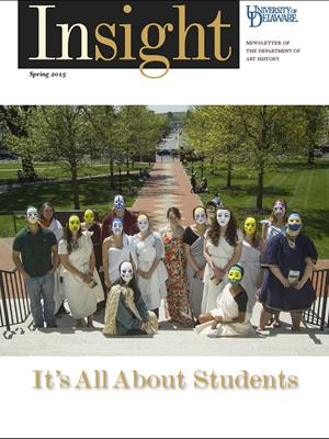 Insight 2015 cover features a group of students in Greek costume on the steps of Old College