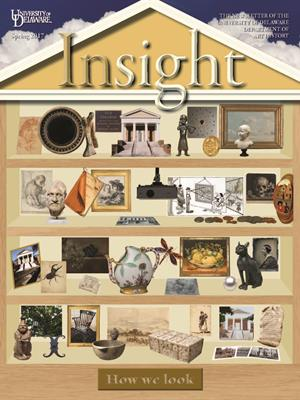 Insight 2017 cover features a series of shelves in the shape of Old College holding various art objects
