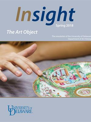 Insight 2018 cover features the title with a photograph of a hand touching a painted Chinese porcelain plate