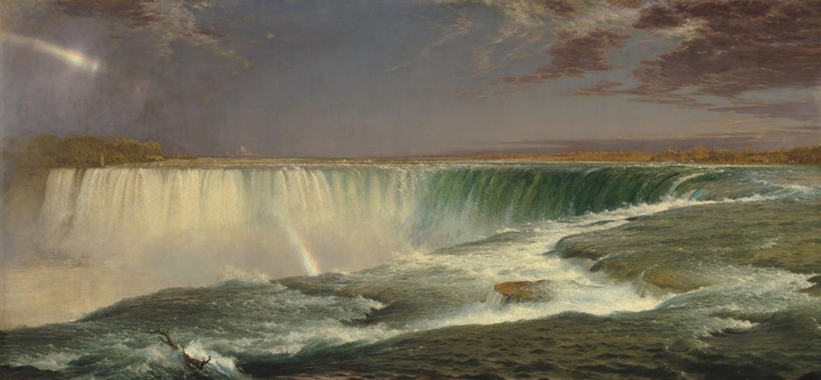 Landscape painting with a view of Niagara Falls