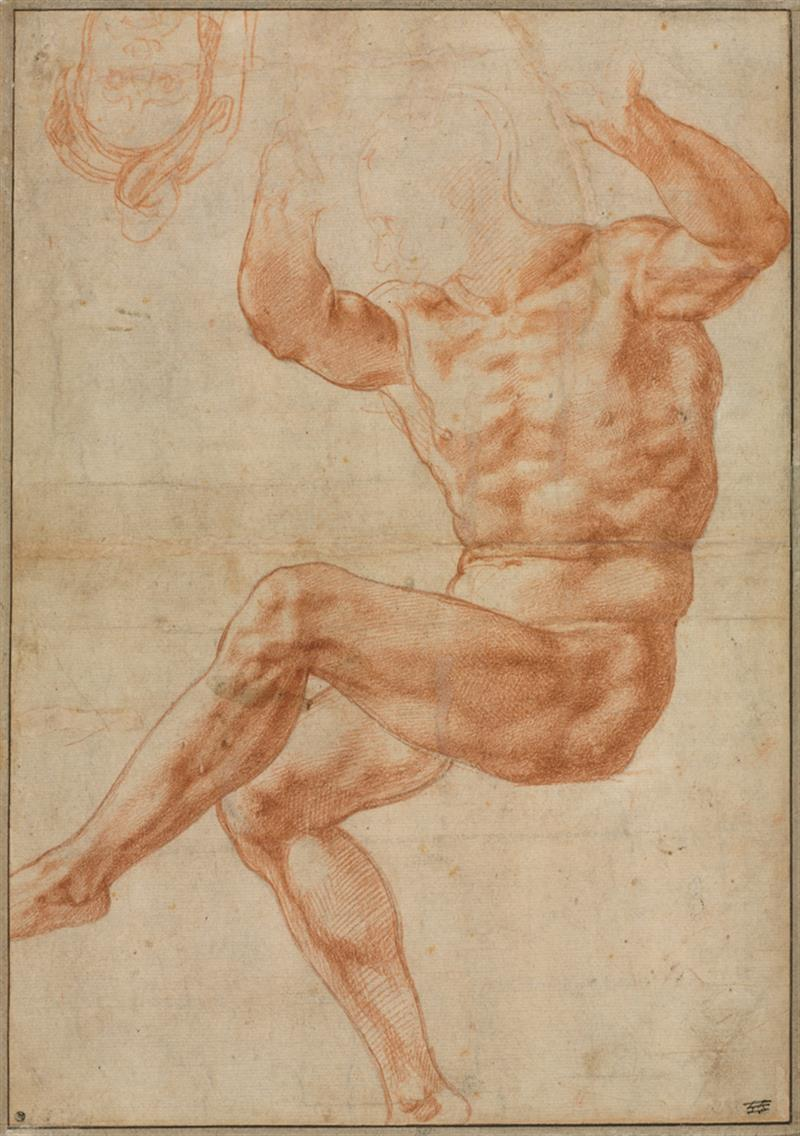 Drawing of a nude male figure, seated, with both arms and one leg raised