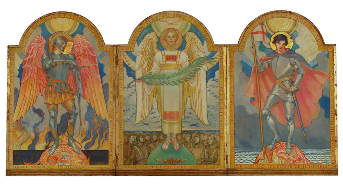 A tryptich of three angels