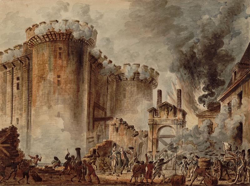 French rebels destroy Bastille with firearms.